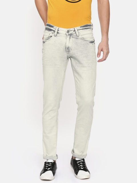 SPYKAR Men Off-White Skinny Fit Low-Rise Clean Look Stretchable Jeans