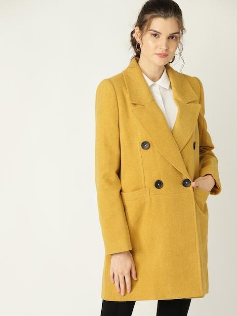 MANGO Women Mustard Yellow Solid Longline Overcoat