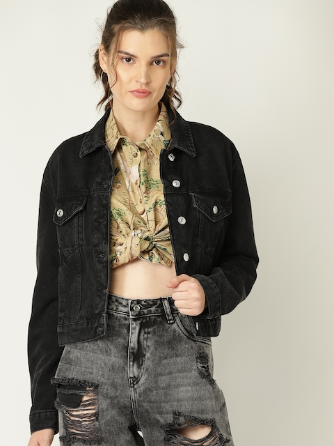 MANGO Women Black Solid Denim Jacket