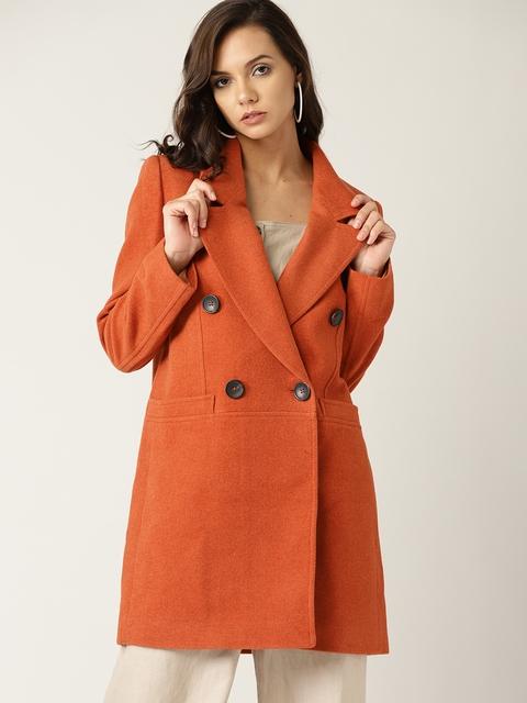 MANGO Women Orange Solid Double-Breasted Longline Overcoat