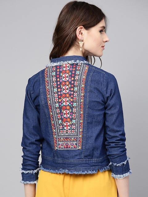 Bhama Couture Women Blue Embroidered Denim Jacket