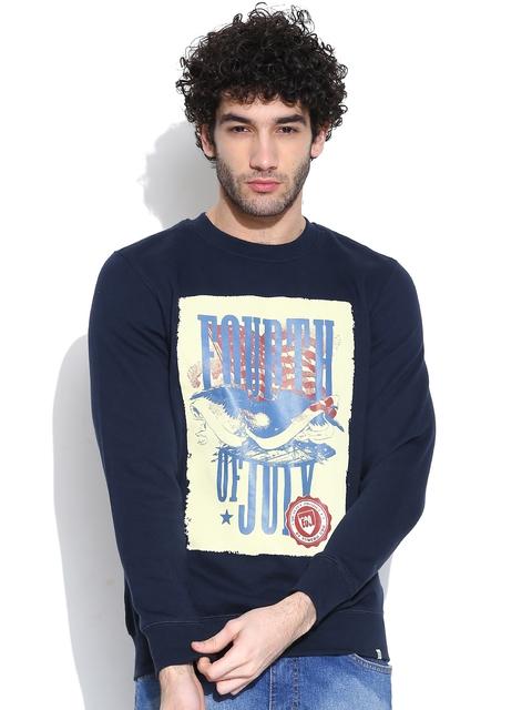 NU ECO Navy Printed Sweatshirt