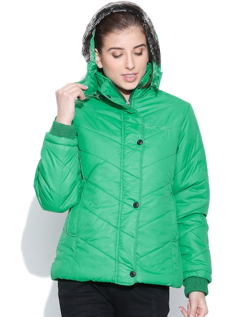 Fort Collins Green Padded Jacket with Detachable Hood