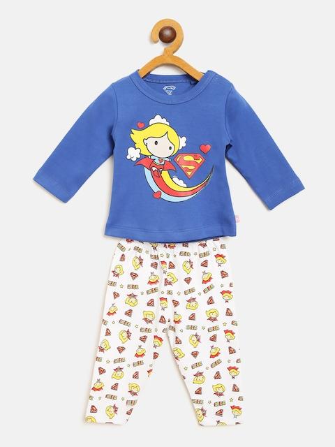 Moms Love Girls Blue & White Printed T-shirt with Pyjamas