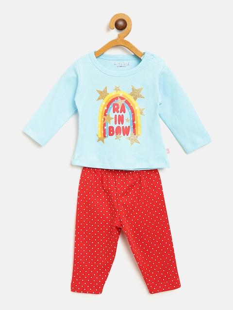 Moms Love Girls Blue & Red Printed T-shirt with Pyjamas