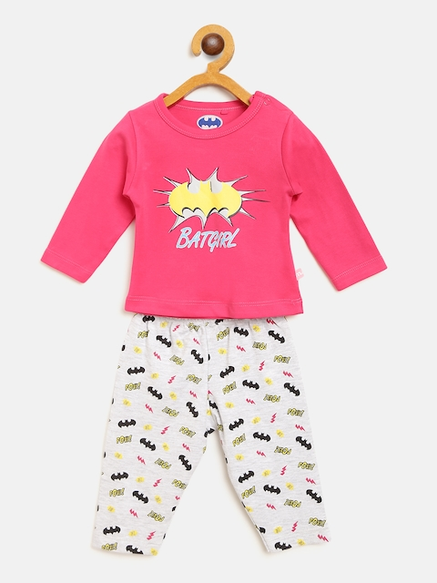 Moms Love Girls Pink & Grey Melange Printed T-shirt with Pyjamas