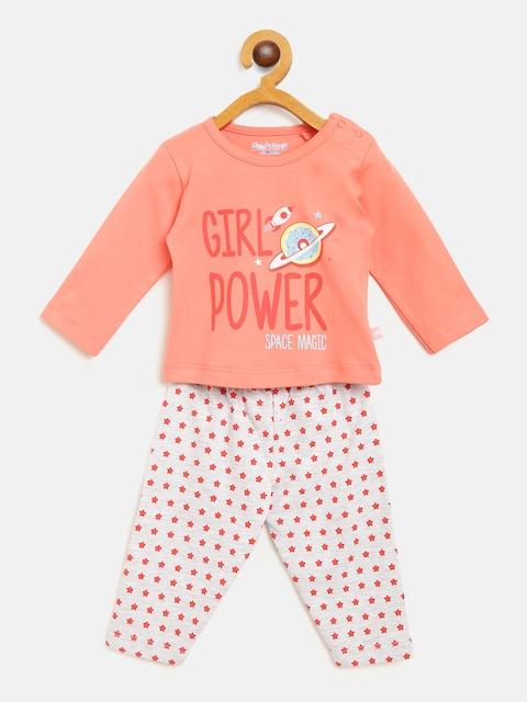 Moms Love Girls Coral Pink & Grey Melange Printed T-shirt with Pyjamas