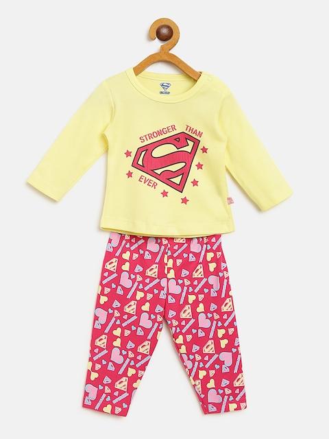 Moms Love Girls Yellow & Pink Printed T-shirt with Pyjamas
