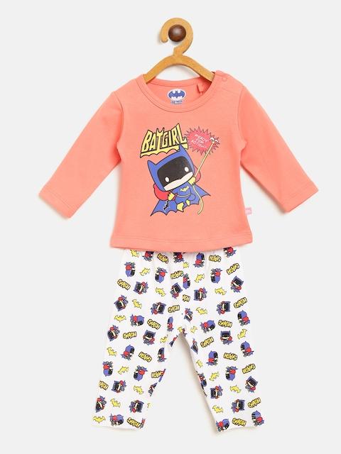 Moms Love Girls Peach-Coloured & White Printed T-shirt with Pyjamas