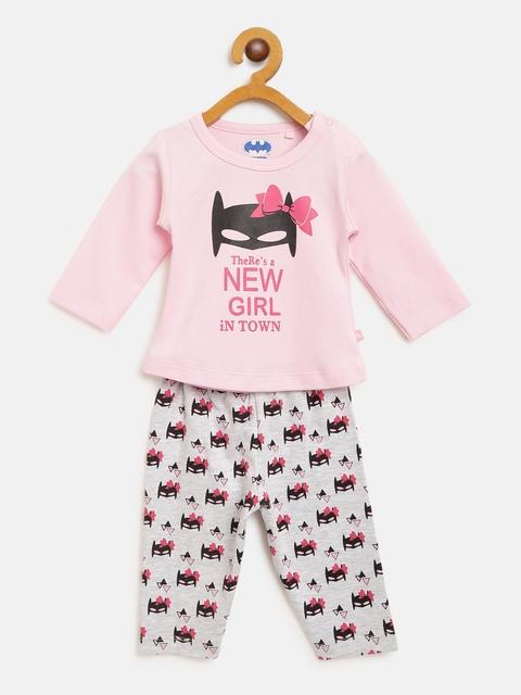 Moms Love Girls Pink & Grey Melange Batman Print T-shirt with Pyjamas