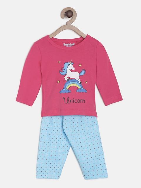 Moms Love Girls Pink & Blue Printed T-shirt with Pyjamas