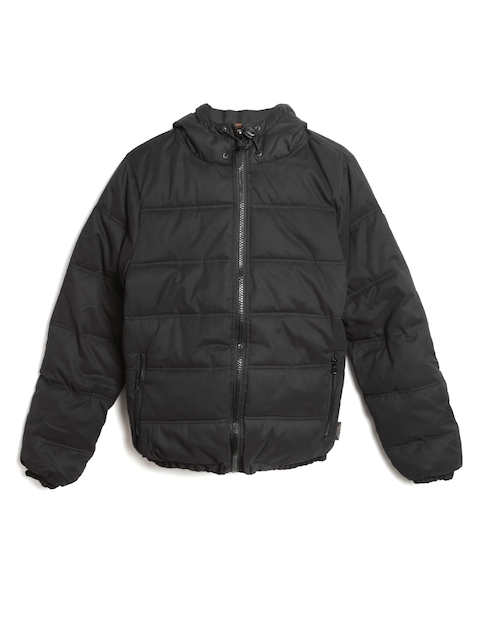 INDICODE Men Black Hooded Padded Jacket