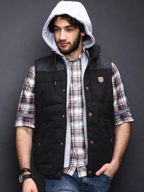 INDICODE Black Padded Sleeveless Jacket