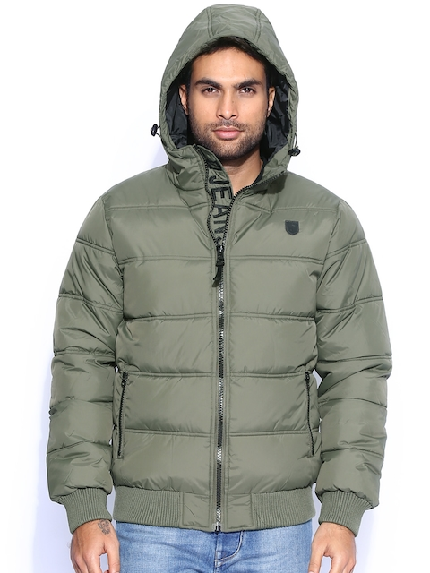 INDICODE Green Hooded Bomber Jacket