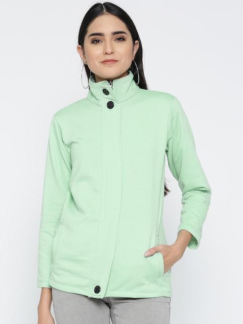 Belle Fille Women Sea Green Solid Tailored Jacket