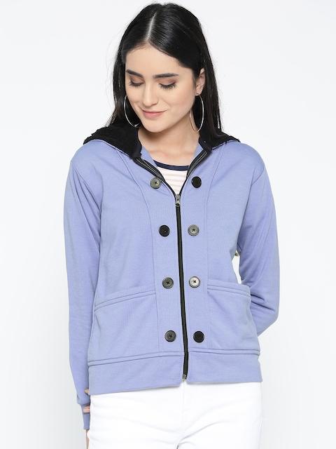 Belle Fille Women Blue Solid Hooded Jacket