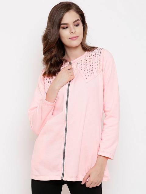Belle Fille Women Peach-Coloured Solid Embellished Detail Lightweight Open Front Jacket