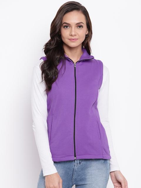 Belle Fille Women Purple Solid Lightweight Open Front Jacket