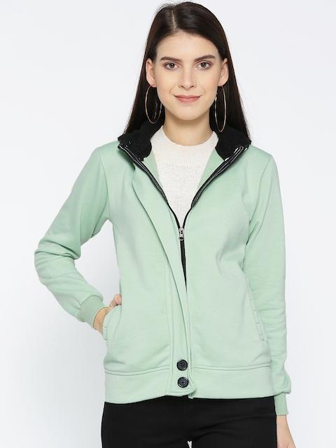 Belle Fille Women Sea Green Solid Lightweight Open Front Hooded Jacket
