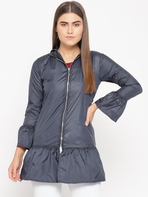 Belle Fille Women Navy Blue Solid Lightweight Jacket