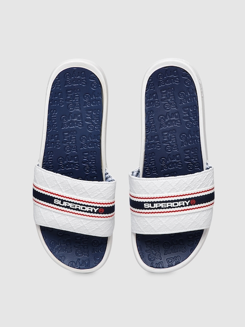 Superdry Unisex White Printed Sliders
