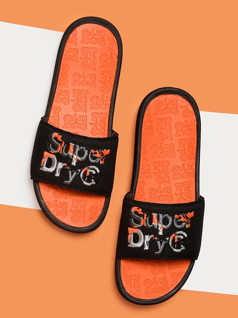 Superdry Unisex Black Self Design Sliders