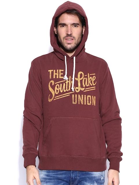 Fox Maroon Hooded Printed Sweatshirt