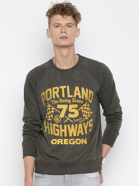 Fox Charcoal Grey Printed Sweatshirt