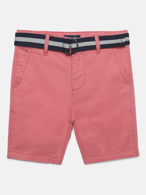 The Childrens Place Boys Pink Solid Regular Fit Chino Shorts
