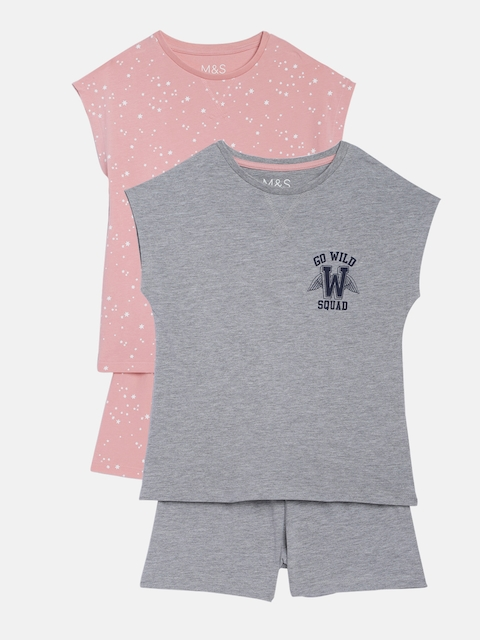 Marks & Spencer Girls Combo Of 2 Solid T-shirt with Shorts