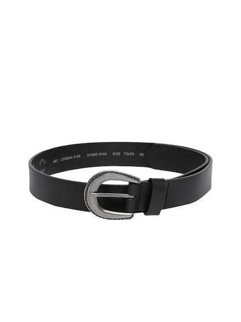 Levis Women Black Solid Leather Belt