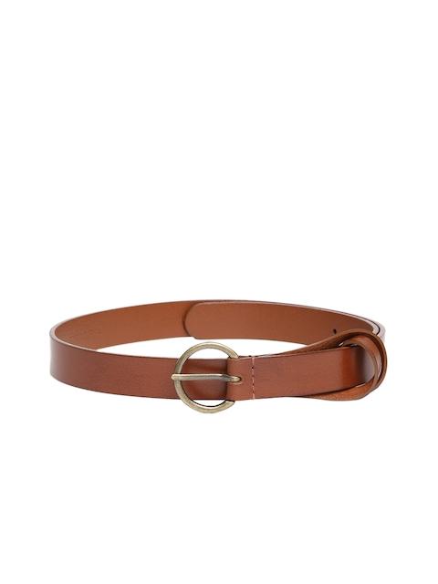 Levis Women Tan-Brown Solid Leather Belt