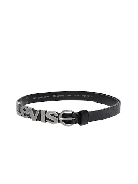 Levis Women Black Metal Embosed Solid Leather Belt