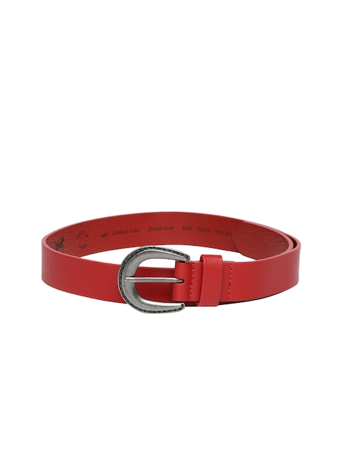 Levis Women Red Solid Leather Belt