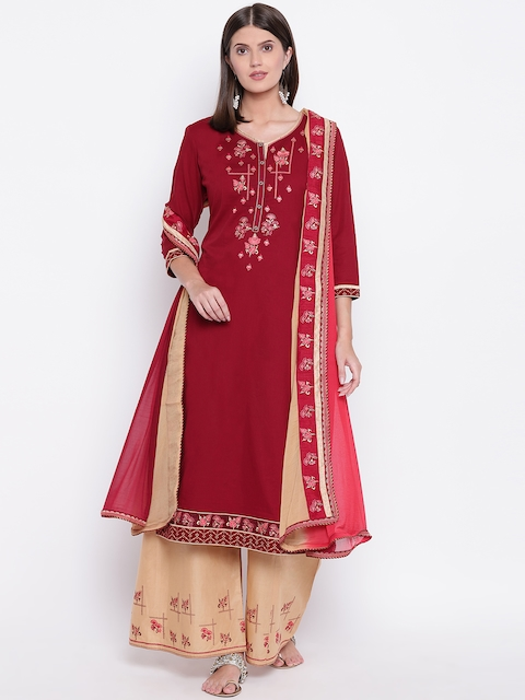 Kvsfab Maroon & Beige Cotton Blend Unstitched Dress Material
