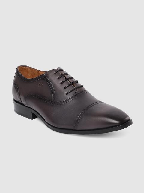 Arrow Men Tan Grey Leather Formal Derbys