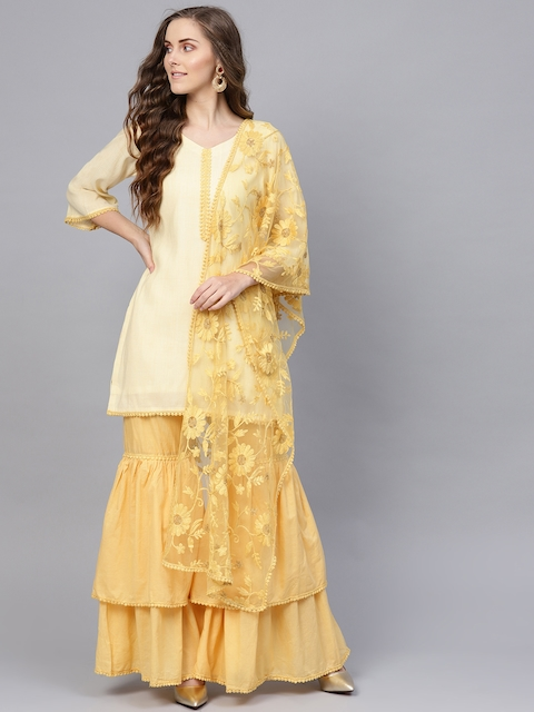 Inddus Yellow Pure Cotton Unstitched Dress Material