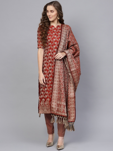 Inddus Maroon & Beige Cotton Blend Unstitched Dress Material