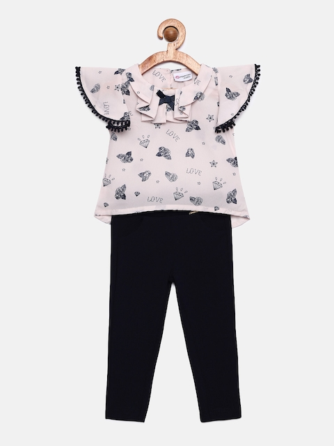 Peppermint Girls Navy Blue & Pink Printed Top with Trousers