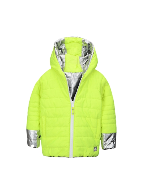 Cherry Crumble Kids Lime Green & Silver-Coloured Solid Hooded Reversible Padded Jacket