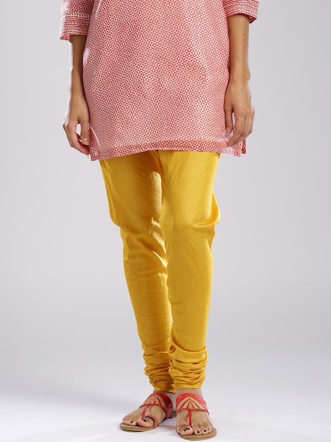 Fabindia Mustard Yellow Silk Churidar
