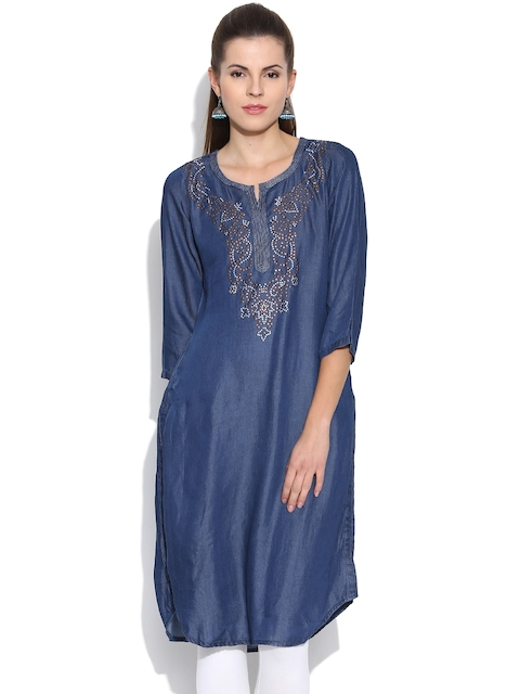 BIBA OUTLET Blue Denim Kurta with Metallic Detail