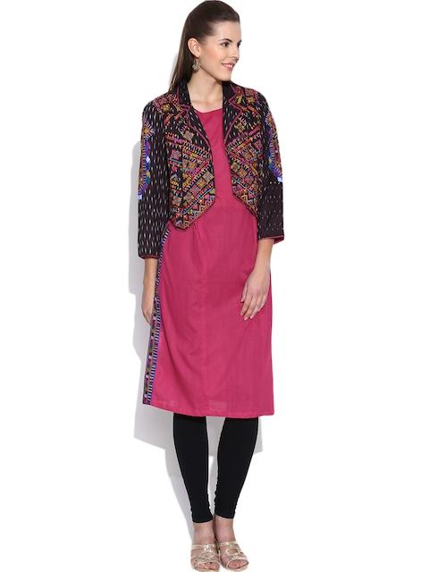 BIBA Pink Kurta with Embroidered Ethnic Jacket