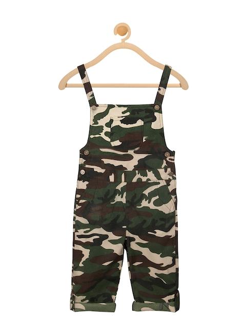 Olele Boys Green Camouflage Printed Regular Fit Dungaree