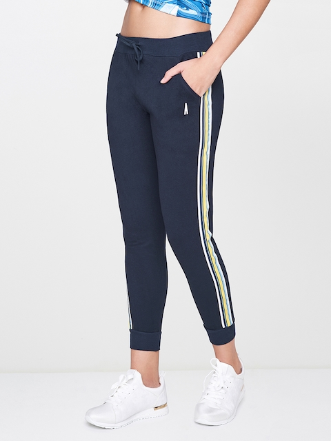 AND Women Navy Blue Regular Fit Solid Cropped Activewear Joggers