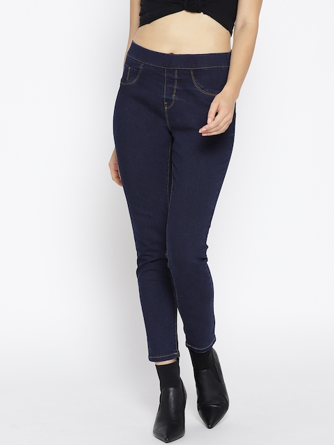 Roadster Women Navy Blue Solid Super Skinny Fit Stretchable Jeggings