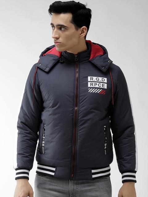 Fort Collins Men Navy Blue Solid Hooded Varsity Jacket