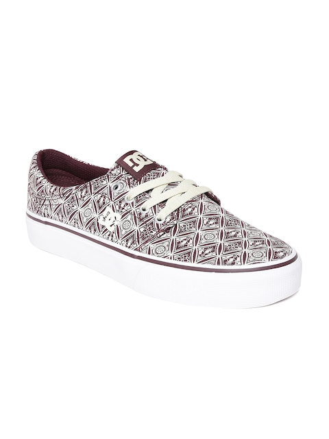 DC Women Cream-Coloured Printed Casual Shoes