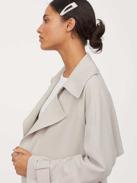 H&M Women Beige Solid Trenchcoat
