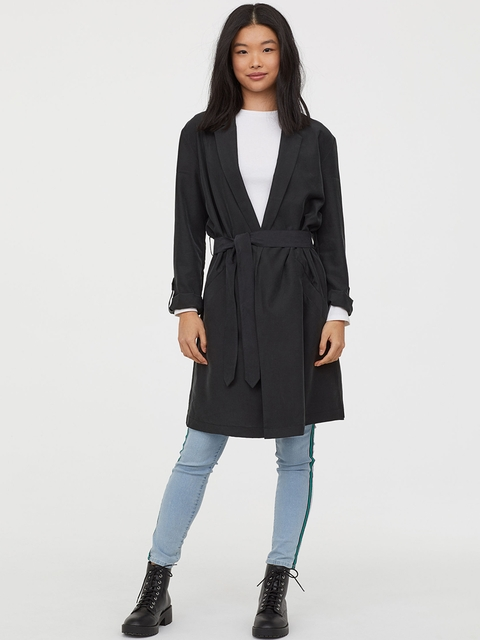 H&M Women Black Solid Modal-Blend Trenchcoat